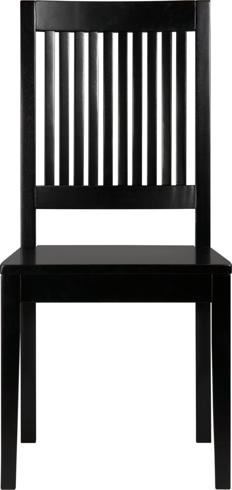 An update of the classic slat-back brings a contemporary edge to traditional Arts and Crafts styling. Handcrafted of sustainable solid rubberwood with a black lacquer finish.<br /><br /><NEWTAG/><ul><li>Solid sustainable rubberwood</li><li>Black lacquer finish</li><li>Made in Vietnam</li></ul>
