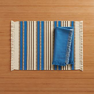 Aspen Stripe Blue Placemat and Aspen Blue Napkin