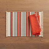 Aspen Stripe Orange Placemat and Aspen Orange Napkin