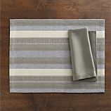 Atherton Placemat and Sateen Silver Napkin