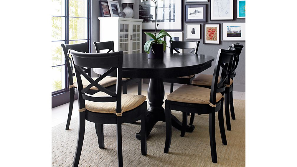 Avalon 45 Black Round Extension Dining Table In