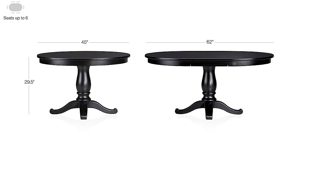 """Avalon 45"""" Black Extension Dining Table Dimensions"""