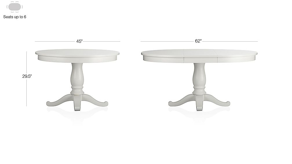 """Avalon 45"""" White Extension Dining Table Dimensions"""