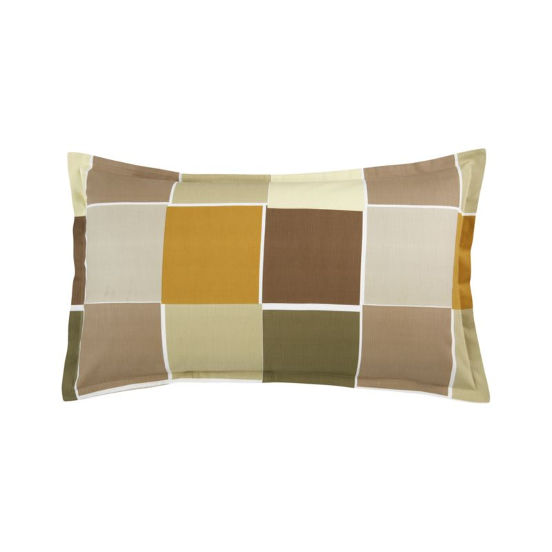 "Modern Portuguese linens color block warm, earthy neutrals with asymmetrical white frames. Textured cotton adds depth and interest. Shams are random-cut for variety and finished with 1"" flange and generous overlapping back closures. Bed pillows also available.<br /><br /><NEWTAG/><ul><li>100% cotton</li><li>200-thread-count</li><li>Pattern placement on shams may vary from sample shown</li><li>Machine wash</li></ul>"