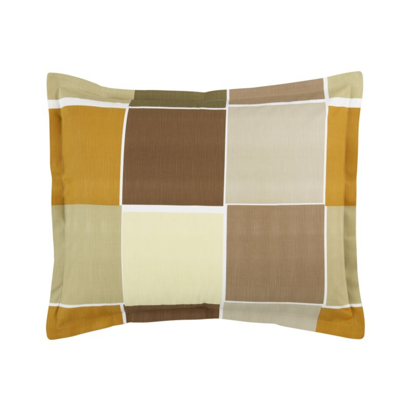 """Modern Portuguese linens color block warm, earthy neutrals with asymmetrical white frames. Textured cotton adds depth and interest. Shams are random-cut for variety and finished with 1"""" flange and generous overlapping back closures. Bed pillows also available.<br /><br /><NEWTAG/><ul><li>100% cotton</li><li>200-thread-count</li><li>Pattern placement on shams may vary from sample shown</li><li>Machine wash</li><li>Made in Portugal</li></ul>"""