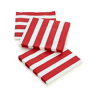 Set of 20 Awning Stripe Paper Beverage Napkins