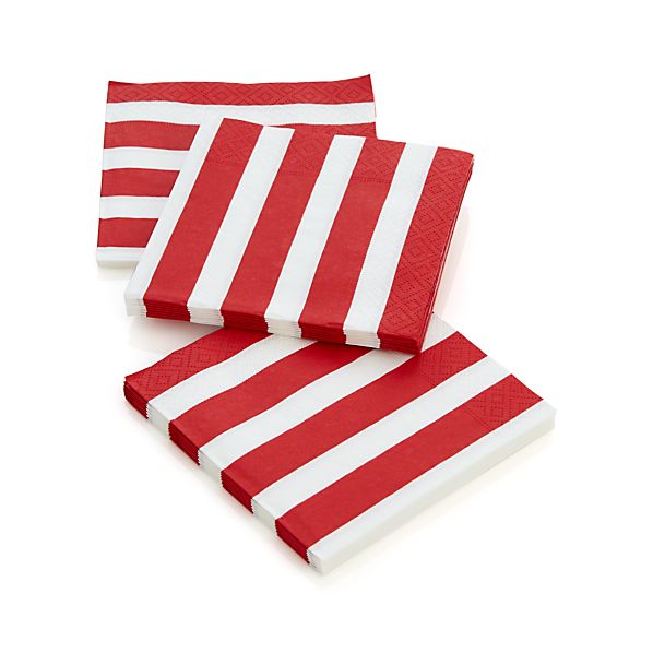 Awning Stripe Paper Beverage Napkins Set of 20
