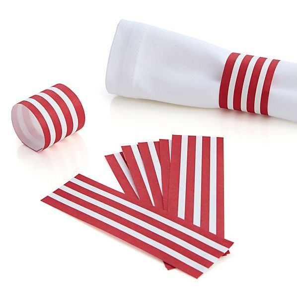 Awning Stripe Paper Napkin Rings Set of Eight