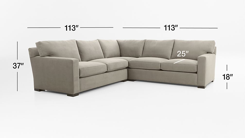 Axis II 3-Piece Sectional Sofa Dimensions