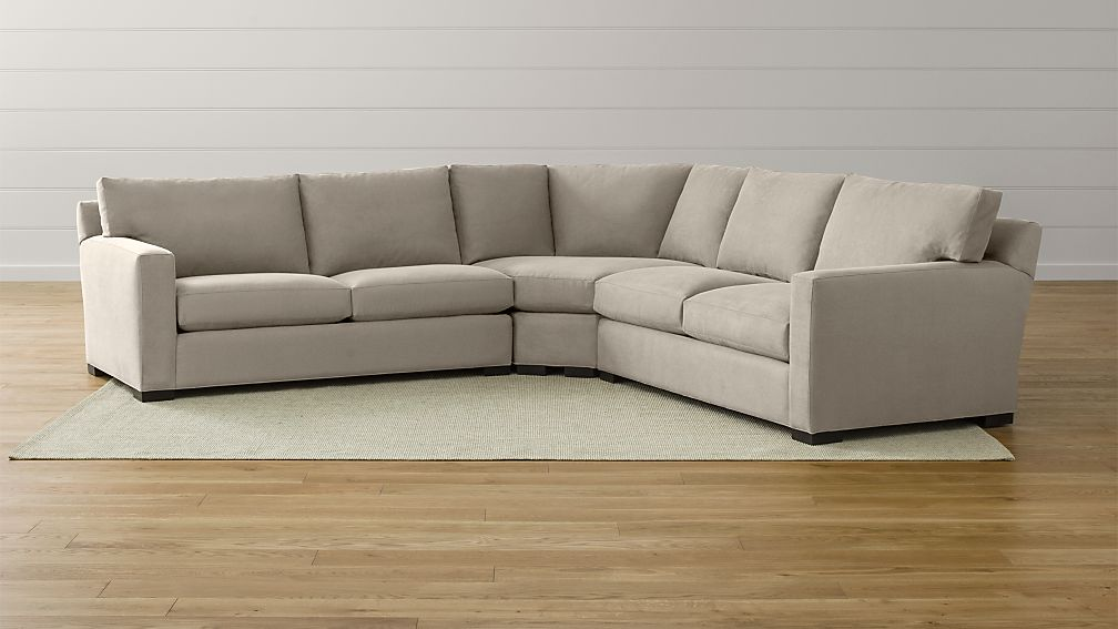 Axis II 3 Piece Sectional Sofa Nickel Crate And Barrel