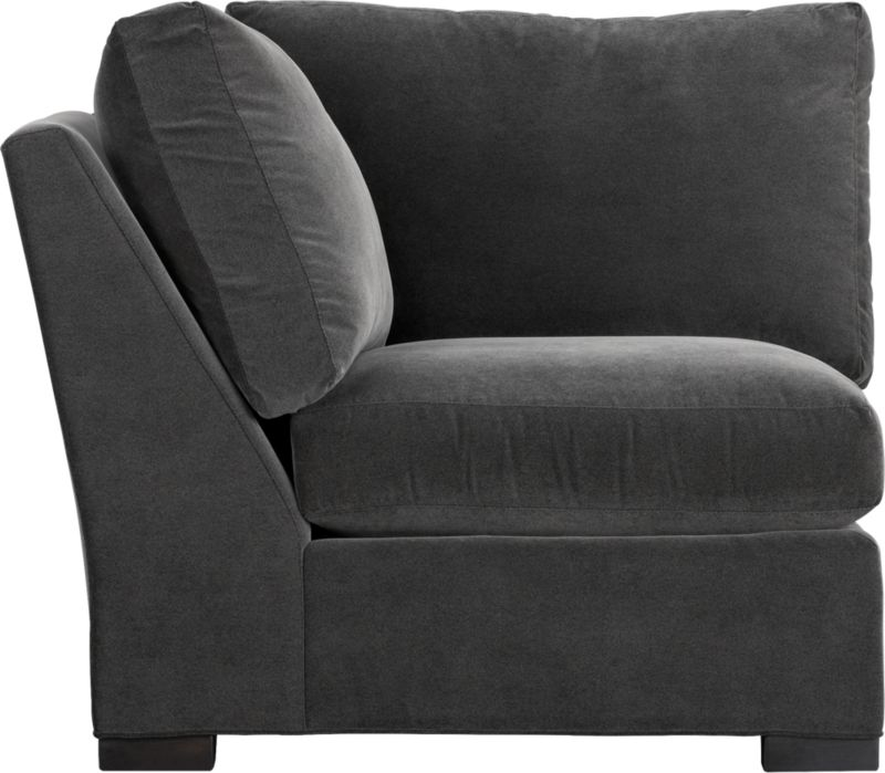 "Our most popular seating solution updates in a slightly slimmer profile with more room to stretch out and more options to dress with your own mix of throw pillows. Its simple lines anchor any room—whether classic, modern or a more eclectic mix—and it's a tremendous value for the quality of construction. Family-friendly fabric cozies in velvety and durable dark grey poly-blend. Benchmade frame is kiln-dried hardwood, and soft down-blend seat cushions have an indulgent wrap in downproof ticking to give it that extra ""ahh"" factor when you sit down. Axis sectional also available.<br /><br /><strong>Axis II Corner in Valencia Rock is now on sale. Other colors available at additional cost.</strong><br /><br />After you place your order, we will send a fabric swatch via next day air for your final approval. We will contact you to verify both your receipt and approval of the fabric swatch before finalizing your order.<br /><br /><NEWTAG/><ul><li>Eco-friendly construction</li><li>Certified sustainable kil"
