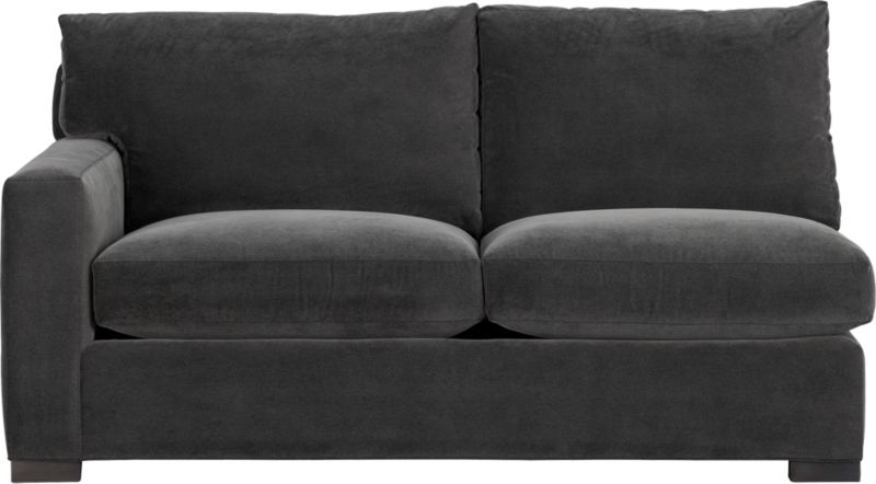 "Our most popular seating solution updates in a slightly slimmer profile with more room to stretch out and more options to dress with your own mix of throw pillows. Its simple lines anchor any room—whether classic, modern or a more eclectic mix—and it's a tremendous value for the quality of construction. Family-friendly fabric cozies in velvety and durable dark grey poly-blend. Benchmade frame is kiln-dried hardwood, and soft down-blend seat cushions have an indulgent wrap in downproof ticking to give it that extra ""ahh"" factor when you sit down. Axis sectional also available.<br /><br /><strong>Axis II Left Arm Apartment Sofa in Valencia Rock is now on sale. Other colors available at additional cost.</strong><br /><br />After you place your order, we will send a fabric swatch via next day air for your final approval. We will contact you to verify both your receipt and approval of the fabric swatch before finalizing your order.<br /><br /><NEWTAG/><ul><li>Eco-friendly construction</li><li>Certif"