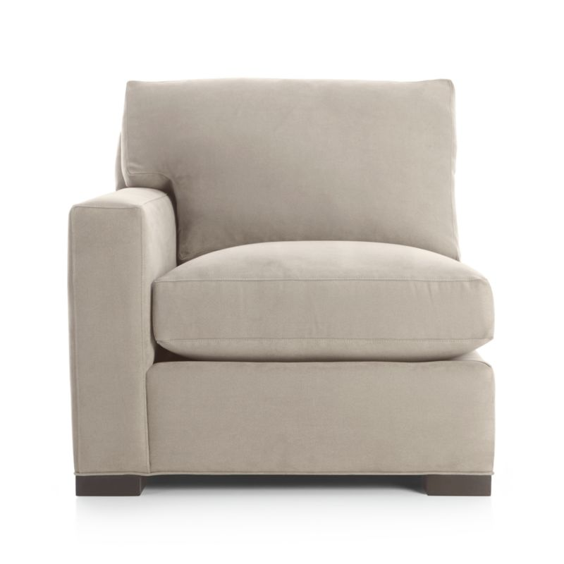 """Our most popular seating solution updates in a slightly slimmer profile with more room to stretch out and more options to dress with your own mix of throw pillows. Its simple lines anchor any room—whether classic, modern or a more eclectic mix—and it's a tremendous value for the quality of construction. Snug-fitting slipcovers hug Axis's plush contours, tailor-made with a sleek floor-length skirt and crisp topstitching. It's a tremendous value for the quality of construction: benchmade frame is kiln-dried hardwood, and soft down-blend seat cushions have an indulgent wrap in downproof ticking to give it that extra """"ahh"""" factor when you sit down. Axis sofa group also available.<br /><br />After you place your order, we will send a fabric swatch via next day air for your final approval. We will contact you to verify both your receipt and approval of the fabric swatch before finalizing your order.<br /><br /><NEWTAG/><ul><li>Eco-friendly construction</li><li>Certified sustainable kiln-dried hardwood frame</li><li>Flexolator spring suspension</li><li>Seat cushion is multilayer soy- or plant-based polyfoam wrapped in fiber-down blend and encased in downproof ticking</li><li>Back cushion is fiber-down blend in downproof ticking</li><li>Removable slipcovers are machine washable</li><li>Square wood legs with a hickory finish</li><li>Benchmade</li><li>Made in North Carolina, USA</li></ul>"""