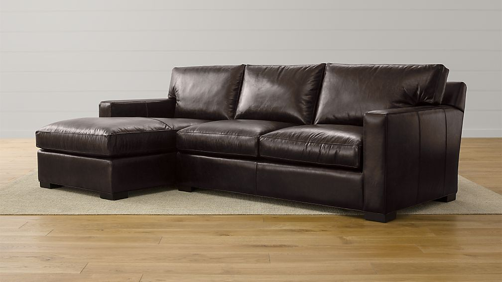 Axis ii leather 2 piece sectional sofa espresso crate for Axis ii 2 piece sectional sofa