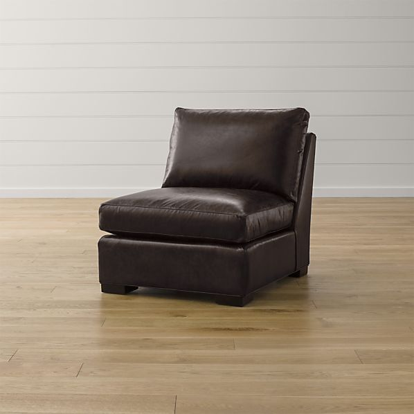 Axis ii leather armless chair espresso crate and barrel for Crate and barrel armless chair