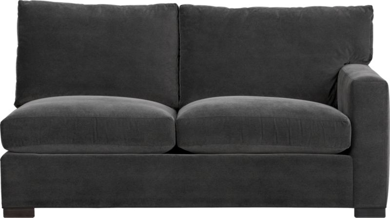 "Our most popular seating solution updates in a slightly slimmer profile with more room to stretch out and more options to dress with your own mix of throw pillows. Its simple lines anchor any room—whether classic, modern or a more eclectic mix—and it's a tremendous value for the quality of construction. Family-friendly fabric cozies in velvety and durable dark grey poly-blend. Benchmade frame is kiln-dried hardwood, and soft down-blend seat cushions have an indulgent wrap in downproof ticking to give it that extra ""ahh"" factor when you sit down. Axis sectional also available.<br /><br /><strong>Axis II Right Arm Apartment Sofa in Valencia Rock is now on sale. Other colors available at additional cost.</strong><br />After you place your order, we will send a fabric swatch via next day air for your final approval. We will contact you to verify both your receipt and approval of the fabric swatch before finalizing your order.<br /><br /><NEWTAG/><ul><li>Eco-friendly construction</li><li>Certified sustainable kiln-dried hardwood frame</li><li>Seat cushions are multilayer soy- or plant-based polyfoam wrapped in fiber-down blend and encased in downproof ticking</li><li>Back cushions are fiber-down blend in downproof ticking</li><li>Fabric is 29% polyester, 28% acrylic , 27% nylon and 16% cotton</li><li>Flexolator spring suspension</li><li>Square wood legs with a fossil finish</li><li>Benchmade</li><li>Made in North Carolina, USA</li></ul>"