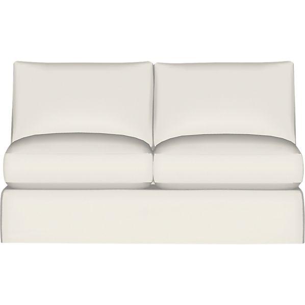 Axis II Slipcover Armless Sectional Full Sleeper Sofa with Air Mattress