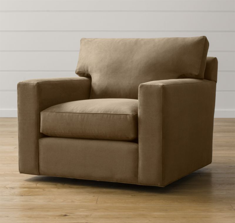 Bring Axis home and watch life revolve around it. Upholstered in a high-performance fabric that's pet, kid, and family friendly, this swivel chair offers exceptional durability for family rooms and casual living rooms. <NEWTAG/><ul><li>Frame is benchmade in the USA with certified sustainable hardwood that's kiln-dried to prevent warping</li><li>Flexolator spring suspension system</li><li>Soy-based polyfoam seat cushion wrapped in fiber-down blend and encased in downproof ticking</li><li>Fiber-down back cushion encased in downproof ticking</li><li>360-degree swivel mechanism</li><li>Material origin: see swatch</li><li>Made in North Carolina, USA</li></ul>