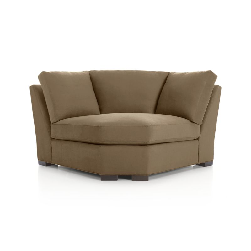 """Our most popular seating solution updates in a slightly slimmer profile with more room to stretch out and more options to dress with your own mix of throw pillows. Its simple lines anchor any room—whether classic, modern or a more eclectic mix—and it's a tremendous value for the quality of construction. Handsome herringbone adds a subtle sense of pattern to warm coffee shades in a family- and pet-friendly micro-suede fabric that works with any decor.   Benchmade frame is kiln-dried hardwood, and soft down-blend seat cushions have an indulgent wrap in downproof ticking to give it that extra """"ahh"""" factor when you sit down. Axis sofa group also available.<br /><br />After you place your order, we will send a fabric swatch via next day air for your final approval. We will contact you to verify both your receipt and approval of the fabric swatch before finalizing your order.<br /><br /><NEWTAG/><ul><li>Eco-friendly construction</li><li>Certified sustainable kiln-dried hardwood frame</li><li>Seat cushions are multilayer soy- or plant-based polyfoam wrapped in fiber-down blend and encased in downproof ticking</li><li>Back cushions are fiber-down blend in downproof ticking</li><li>Fabric is 100% polyester microfiber</li><li>Flexolator spring suspension</li><li>Square wood legs with a fossil finish</li><li>Benchmade</li><li>Made in North Carolina, USA</li></ul><br />"""
