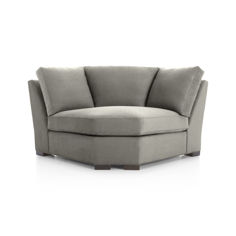 """Our most popular seating solution updates in a slightly slimmer profile with more room to stretch out and more options to dress with your own mix of throw pillows. Its simple lines anchor any room—whether classic, modern or a more eclectic mix—and it's a tremendous value for the quality of construction. Handsome herringbone adds a subtle sense of pattern to mid-tone greys in a family- and pet-friendly micro-suede fabric that works with any decor.  Benchmade frame is kiln-dried hardwood, and soft down-blend seat cushions have an indulgent wrap in downproof ticking to give it that extra """"ahh"""" factor when you sit down. Axis sofa group also available.<br /><br />After you place your order, we will send a fabric swatch via next day air for your final approval. We will contact you to verify both your receipt and approval of the fabric swatch before finalizing your order.<br /><br /><NEWTAG/><ul><li>Eco-friendly construction</li><li>Certified sustainable kiln-dried hardwood frame</li><li>Seat cushions are multilayer soy- or plant-based polyfoam wrapped in fiber-down blend and encased in downproof ticking</li><li>Back cushions are fiber-down blend in downproof ticking</li><li>Fabric is 100% polyester microfiber</li><li>Flexolator spring suspension</li><li>Square wood legs with a fossil finish</li><li>Benchmade</li><li>Made in North Carolina, USA</li></ul>"""