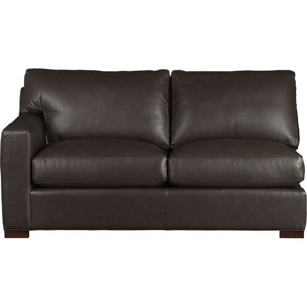Axis Leather Sectional Left Arm Loveseat in Sofas | Crate and Barrel