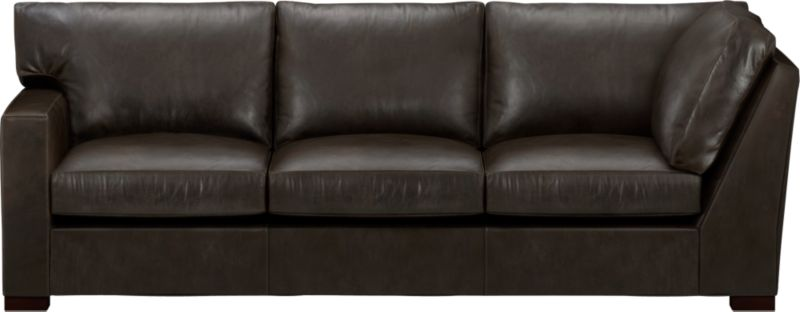 The clean lines of our best-selling Axis relax with casual sophistication in rich full-grain leather. Its natural markings and vintage nature add rich character. Wide track arm and plump back cushions frame deep seat cushions. Block feet are stained a warm hickory.<br /><br />After you place your order, we will send a leather swatch via next day air for your final approval. We will contact you to verify both your receipt and approval of the leather swatch before finalizing your order.<br /><br /><NEWTAG/><ul><li>Eco-friendly construction</li><li>Certified sustainable, kiln-dried hardwood frame</li><li>Seat cushions are multilayer soy- or plant-based polyfoam wrapped in fiber-down blend and encased in downproof ticking</li><li>Back cushions are fiber-down encased in downproof ticking</li><li>Flexolator suspension</li><li>Upholstered in full grain, aniline-dyed leather with topstitching</li><li>Hickory-stained hardwood legs</li><li>Benchmade</li><li>See additional frame options below</li><li>Made in North Carolina, USA</li></ul>