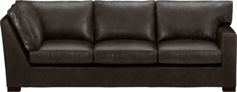 The clean lines of our best-selling Axis relax with casual sophistication in rich full-grain leather. Its natural markings and vintage nature add rich character. Wide track arm and plump back cushions frame deep seat cushions. Block feet are stained a warm hickory.<br /><br />After you place your order, we will send a leather swatch via next day air for your final approval. We will contact you to verify both your receipt and approval of the leather swatch before finalizing your order.<br /><br /><NEWTAG/><ul><li>Eco-friendly construction</li><li>Certified sustainable, kiln-dried hardwood frame</li><li>Seat cushions are multilayer soy- or plant-based polyfoam wrapped in fiber-down blend and encased in downproof ticking</li><li>Back cushions are fiber-down encased in downproof ticking</li><li>Flex