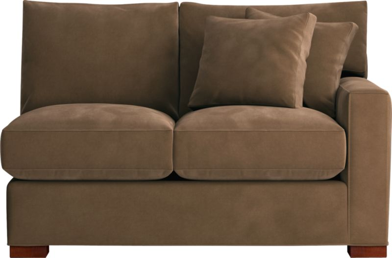 """It's no small wonder that Axis is one of our most popular seating solutions. It offers versatile seating options that sit luxuriously deep and roomy. It offers simple lines to anchor any room—whether classic, modern or a more eclectic mix. And it's extremely livable with a no-fuss microfiber. It's a tremendous value for the quality of construction: the benchmade frame is kiln-dried hardwood, and soft down blend seat cushions have an indulgent wrap in downproof ticking to give it that extra """"ahh"""" factor when you sit down. No small wonder. Axis sofa group also available.<br /><br />After you place your order, we will send a fabric swatch via next day air for your final approval. We will contact you to verify both your receipt and approval of the fabric swatch before finalizing your order.<br /><br /><NEWTAG/><ul><li>Eco-friendly construction</li><li>Certified sustainable kiln-dried hardwood frame</li><li>Seat cushions are multilayer soy- or plant-based polyfoam wrapped in fiber-down blend and encased in downproof ticking</li><li>Back cushions are fiber-down blend in downproof ticking</li><li>Flexolator spring suspension</li><li>Square wood legs with a dark cognac finish</li><li>100% polyester microfiber</li><li>Benchmade</li><li>See additional frame options below</li><li>Made in North Carolina, USA</li></ul>"""