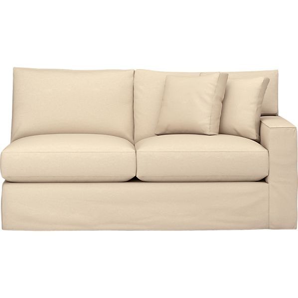 Axis Slipcovered Right Arm Sectional Full Sleeper Sofa