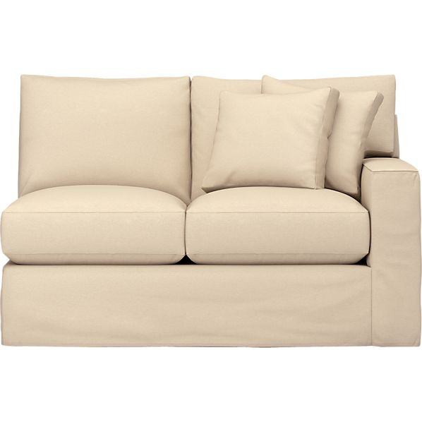 Axis Slipcovered Right Arm Sectional Loveseat in Sofas | Crate and ...