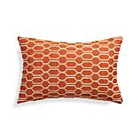 "Azulejo Orange 20""x13"" Pillow with Feather-Down Insert"