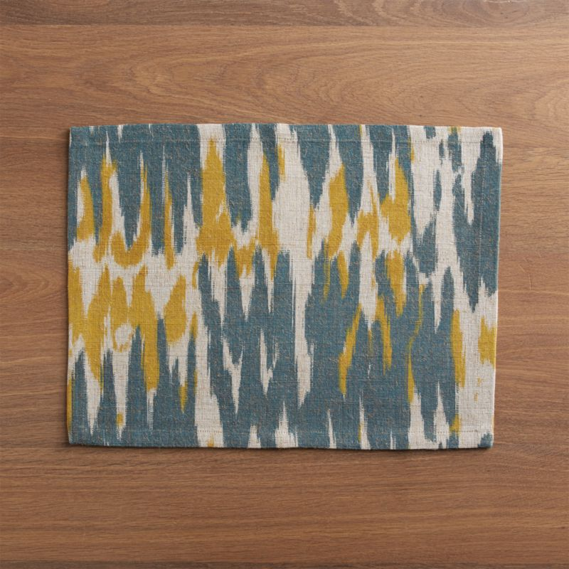 Grey, neutral and ochre undulate abstract waves of blended color in ikat-inspired pattern, hand-dyed and –woven of jute and cotton.<br /><br /><NEWTAG/><ul><li>Handcrafted</li><li>65% jute and 35% cotton</li><li>Oversized to reduce shrinkage</li><li>Machine wash, line dry; warm iron as needed</li><li>Do not dry clean</li><li>Made in India</li></ul>