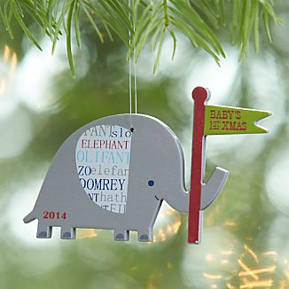 Baby's First Christmas Elephant 2014 Ornament