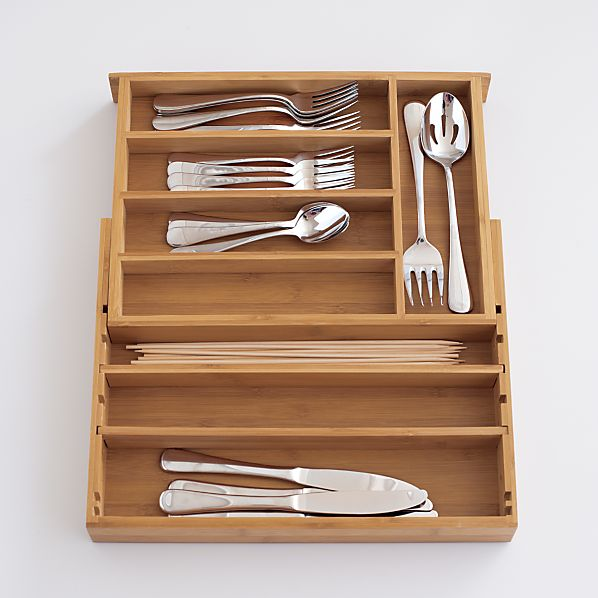 Expandable Bamboo Flatware Tray | Crate and Barrel