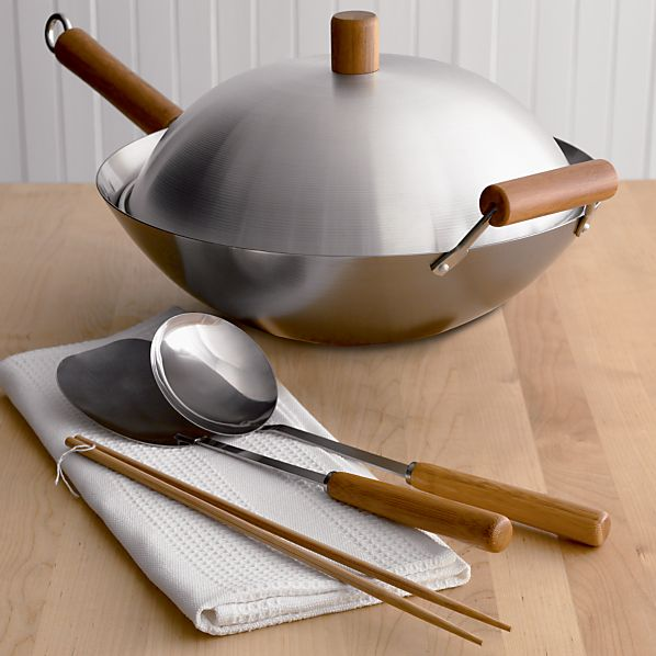 Wok set crate and barrel for Utensilios de cocina oriental