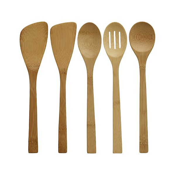 5-Piece Bamboo Utensil Set in Cooking Utensils | Crate and Barrel