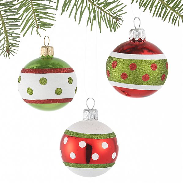 Set of 3 Banded Dot Ball Ornaments