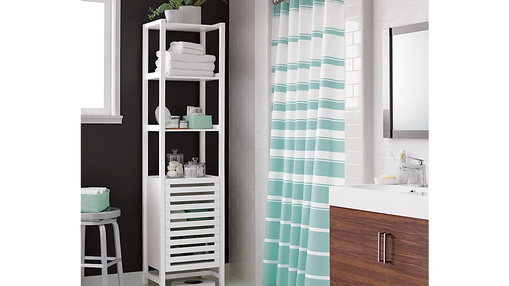 Banya White Bath Tower In Storage Cabinets Crate And Barrel