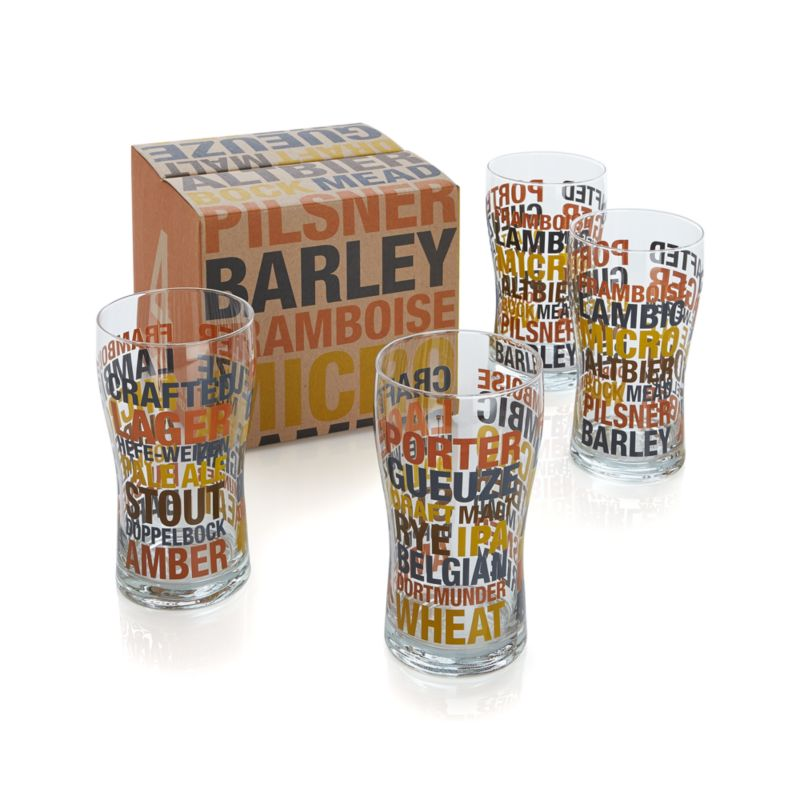 Set of 4 Barrel Beer Glasses