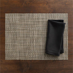 Chilewich® Platinum Basketweave Placemat and Sateen Black Napkin