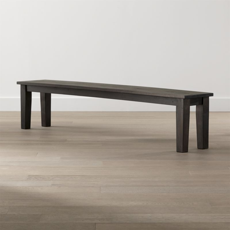 "The bold proportions of this 84"" bench are designed to stand up to the grand scale of the Basque 104"" dining table. Seating up to 4, this simple, rustic seating option brings home the heft and rustic character of a European farmhouse antique. <NEWTAG/><ul><li>Sustainable solid mango wood</li><li>Java brown stain with lacquer and wax finish</li><li>Hand-planed wooden planks</li><li>Peg detailing</li><li>Naturally occurring grain and knots</li><li>Seats 4</li><li>Made in India</li></ul><br /><br />"