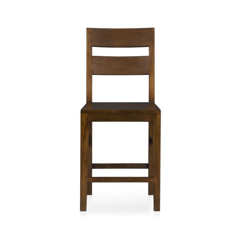 "Bold country character, with simple, angular lines and a modified slat back.<br /><br /><NEWTAG/><ul><li>Handcrafted</li><li>Sustainable, kiln-dried solid mango wood</li><li>Peg detailing</li><li>Naturally occurring grain and knots</li><li>Rich honey finish</li><li>24""H seat sized for counters</li><li>Made in Indonesia</li></ul>"
