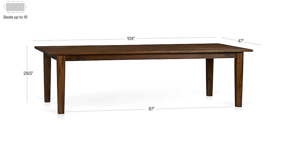 "Basque Honey 104"" Dining Table Dimensions"