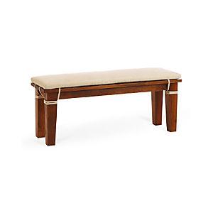 "Basque Honey 48"" Bench and Linen Cushion"