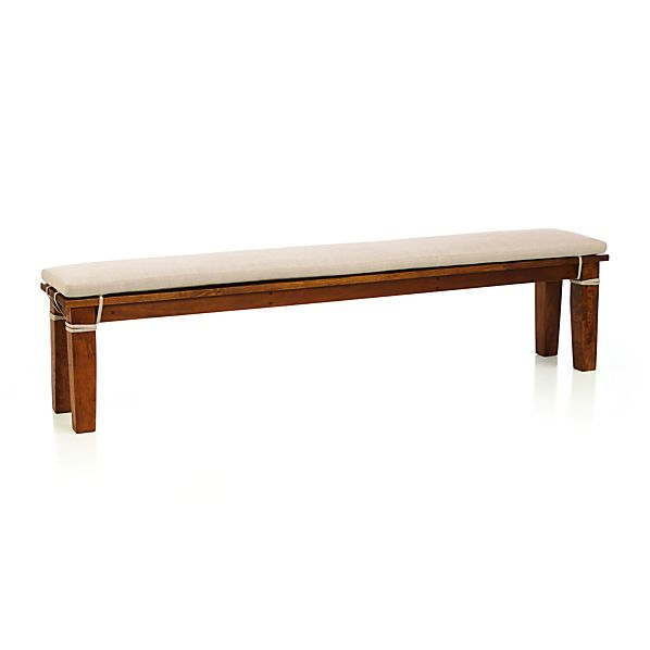 "Basque Honey 84"" Bench and Linen Cushion"