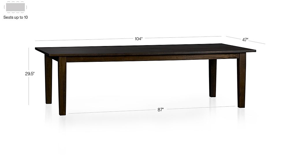 "Basque Java 104"" Dining Table Dimensions"