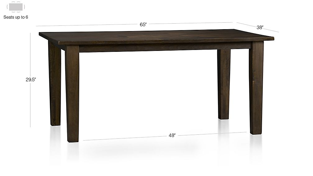 "Basque Java 65"" Dining Table Dimensions"