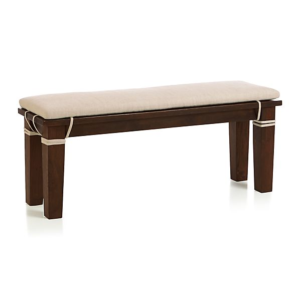 "Basque Java 48"" Bench and Linen Cushion"