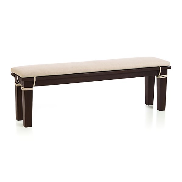 """Basque Java 62"""" Bench and Linen Cushion"""