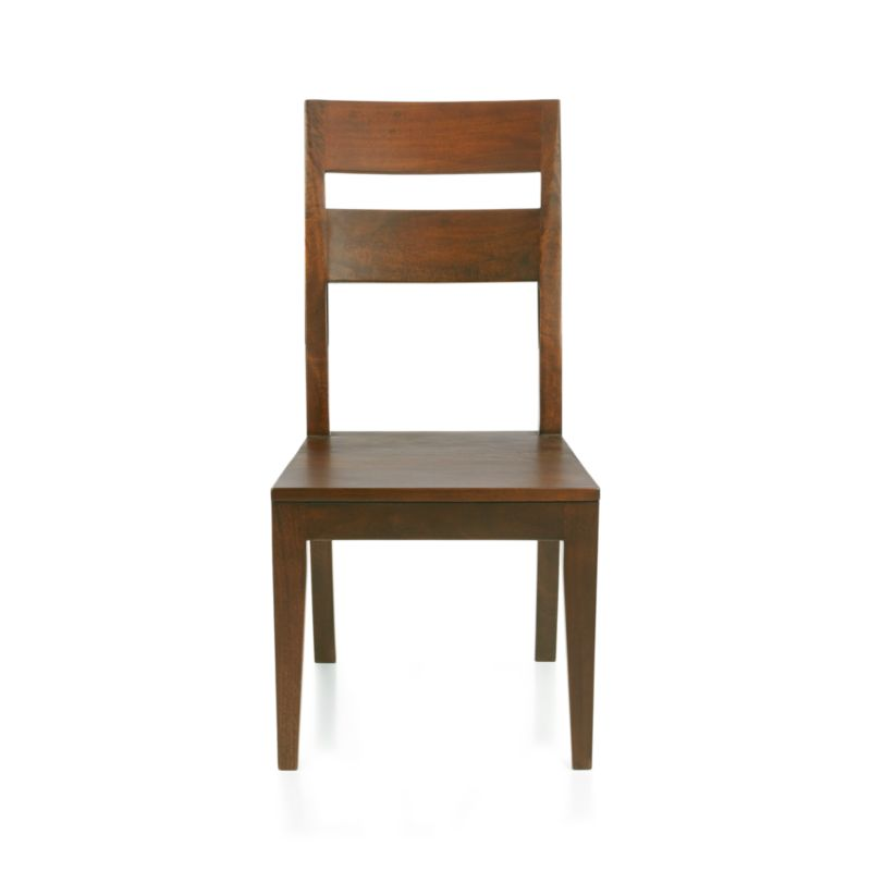 "Bold country character, with simple, angular lines and a modified slat back. Basque accent tables also available. Optional cushion sold separately.<br /><br /><NEWTAG/><ul><li>Handcrafted</li><li>Sustainable, kiln-dried solid mango wood</li><li>Peg detailing</li><li>Naturally occurring grain and knots</li><li>Rich honey finish</li><li>17¾""H seat</li><li>Made in Indonesia</li></ul>"